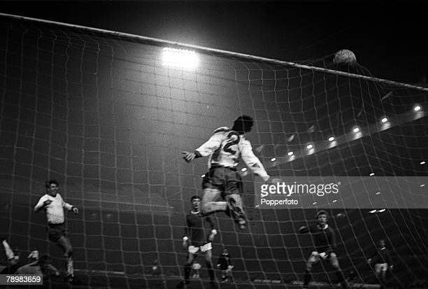 26th February 1969 European Cup 3rd Round 1st Leg Manchester Unitedv Rapid Vienna The ball bulges in the top of the Rapid Vienna net as Manchester...