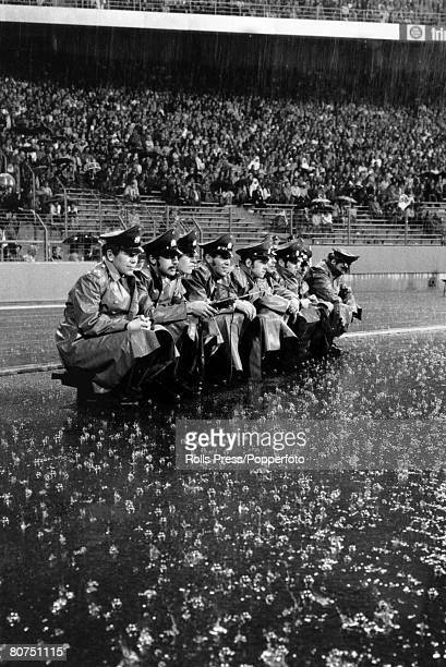26th June 1974 1974 World Cup Finals in Gelsenkirchen Holland 4 v Argentina 0 Pouring rain continues as German policeman are forced to sit in the open