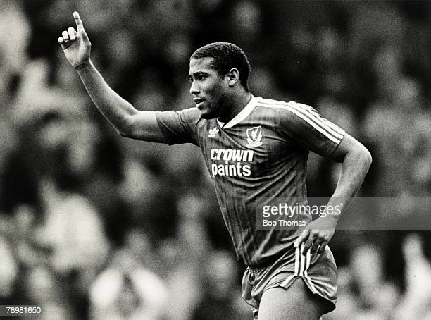 26th March 1988, Division 1, Liverpool 2,v Wimbledon 1, Liverpool's John Barnes celebrates after scoring the 2nd goal, John Barnes played for...