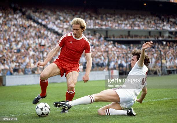 26th May 1982 Aston Villa 1 v Bayern Munich 0 Bayern Munich's KarlHeinz Rummenigge is stopped by a sliding tackle from Aston Villa's Gary Williams