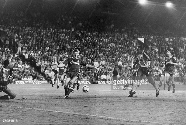 26th May 1989 Division 1 Liverpool 0 v Arsenal 2 Arsenal's Michael Thomas shoots past Liverpool goalkeeper Bruce Grobbelaar to score the 'Gunners'...