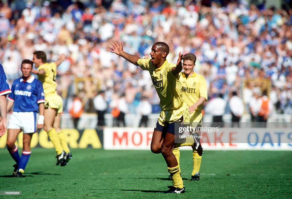 Sport. Football. pic: 26th May 1990. Division 4 Play off Final at Wembley. Cambridge United 1. v Chesterfield 0. Cambridge United's Dion Dublin celebrates after scoring the winning goal. : News Photo