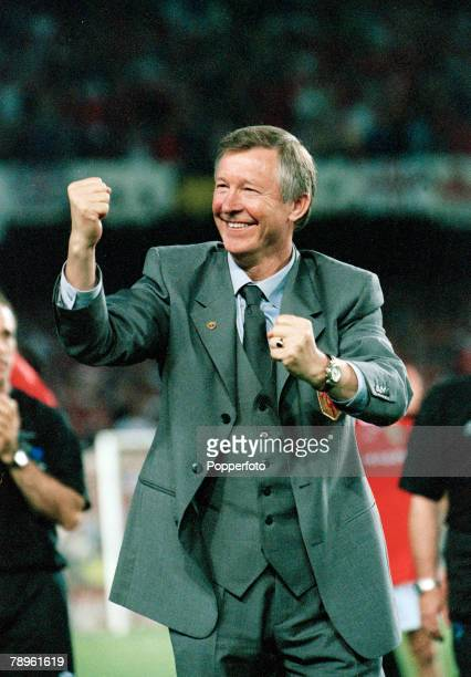 26th May 1999 UEFA Champions League Final Barcelona Manchester United 2 v Bayern Munich 1 Manchester United Manager Alex Ferguson overjoyed as his...