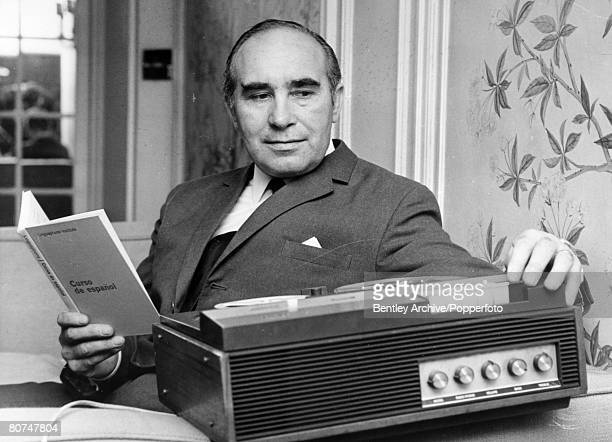 26th September 1969 England Manager Alf Ramsey preparing for the 1970 World Cup Finals in Mexico by learning the Spanish language in a home tuition...