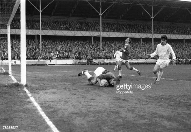 27th April 1964 at Maine Road FA Youth Cup Final Swindon Town v Manchester United Manchester United's George Best watches as Swindon Town goalkeeper...