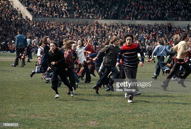 27th April 1974 Division 1 Manchester United 0 v Manchester City 1 The local derby is brought to an early end as rival fans invade the pitch The...