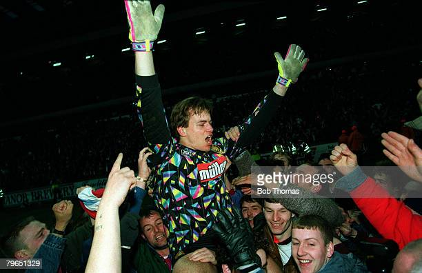 27th February 1993 Coca Cola Cup SemiFinal Second Leg Aston Villa 3 v Tranmere Rovers 1 Aston Villa goalkeeper Mark Bosnich celebrates after as he is...