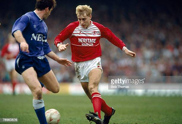 27th March 1989 Division 1 Middlesbrough 3 v Everton 3 Middlesbrough's' Stuart Ripley takes on Everton defender Kevin Ratcliffe Stuart Ripley won 2...