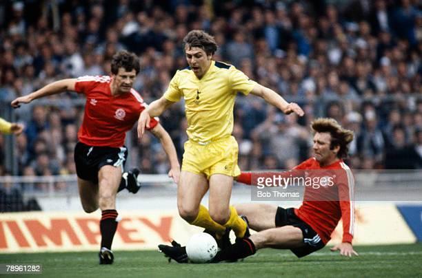 27th May 1982, FA, Cup Final at Wembley, Tottenham Hotspur 1 v Queens Park Rangers 0, , Tottenham Hotspur defender Graham Roberts is brought down by...