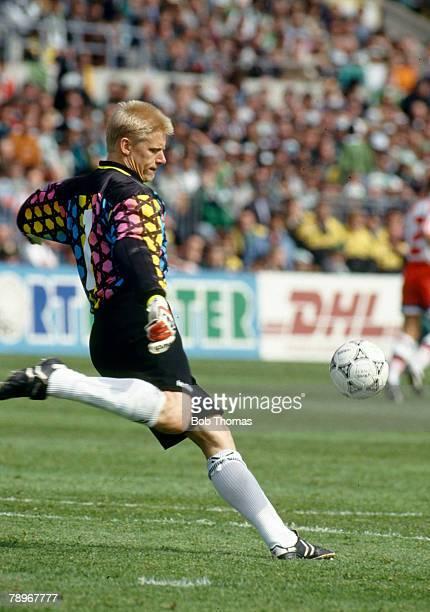 28th April 1993 World Cup Qualifier in Dublin Republic of Ireland 1 v Denmark 1 Peter Schmeichel Denmark goalkeeper 19872001 who won 129 Denmark...