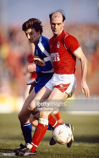 28th February 1987 Division 1 Nottingham Forest 0 v Chelsea 1 Nottingham Forest's Johnny Metgod under pressure from Chelsea's Colin Pates