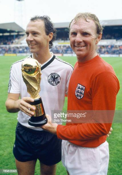 28th July 1985 Charity Friendly at Leeds England 6 v West Germany 4 Friendly rivals from 1966 Bobby Moore England right and West Germany's Franz...