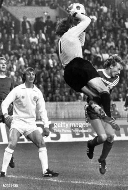 28th May 1975 European Cup Final in Paris Bayern Munich 2 v Leeds United 0 Bayern Munich goalkeeper Sepp Maier leaps to save as Leeds United striker...
