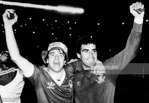 28th May 1980 European Cup Final in Madrid Nottingham Forest 1 v SV Hamburg 0 Nottingham Forest pair John Robertson left and Peter Shilton celebrate...