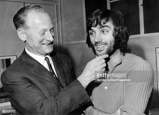 """29th December 1969, Manchester United and Northern Ireland,""""superstar"""" George Best with former England player Tom Finney who admires the Best beard"""