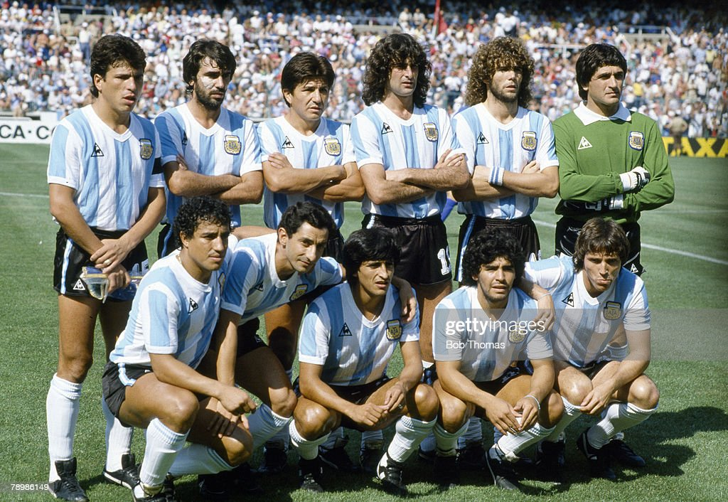 Sport. Football. pic: 29th June 1982. 1982 World Cup Finals in Spain. Italy 2 v Argentina 0 in Barcelona. Argentina team group : News Photo