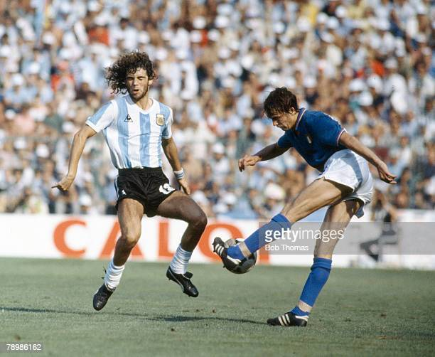 29th June 1982 1982 World Cup Finals in Spain Italy 2 v Argentina 0 in Barcelona Italy's Marco Tardelli makes contact with the ball as Argentina's...