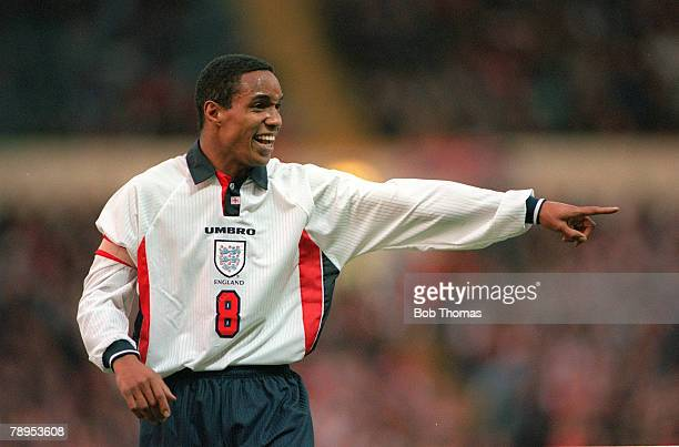 29th March 1997, Friendly International at Wembley, England 2 v Mexico 0, England captain Paul Ince gives instructions during the game, Paul Ince won...
