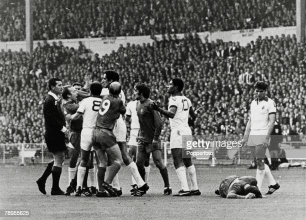 29th May 1968 European Cup Final at Wembley Manchester United 4 v Benfica 1 Manchester United and Benfica players in an angry exchange as United's...