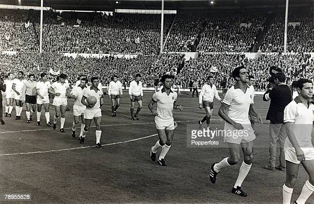 29th May 1968 European Cup Final at Wembley Manchester United 4 v Benfica 1 Portuguese champions Benfica take to the field with their opponents...