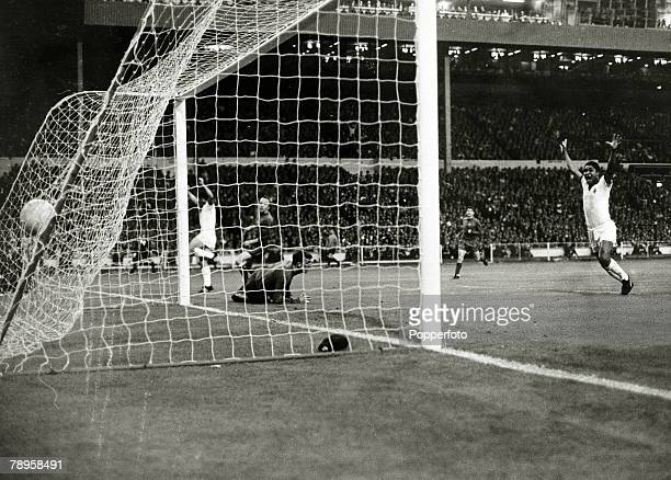 29th May 1968 European Cup Final at Wembley Manchester United 4 v Benfica 1 Manchester United goalkeeper Alex Stepney is beaten by Jaime Graca's shot...