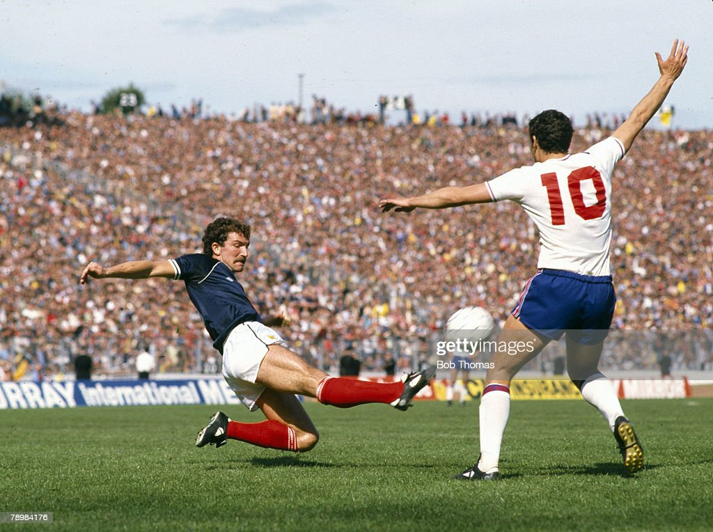 29th May 1982, British Championship at Hampden Park, Glasgow, Scotland 0 v England 1, Scotland's Graeme Souness 'flies' in to tackle England's Trevor Brooking