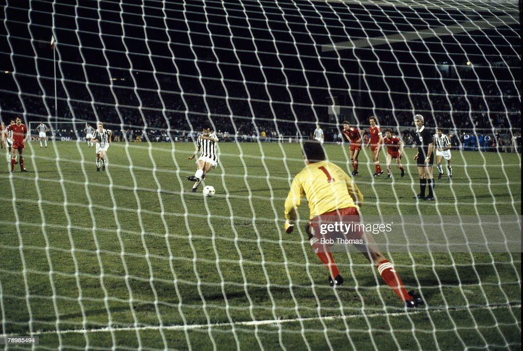 BT Sport. Football. pic: 29th May 1985. European Cup Final in Brussels. Liverpool 0 v Juventus 1. Juventus' Michel Platini beats Liverpool goalkeeper Bruce Grobbelaar from the penalty spot for the winning goal. : News Photo