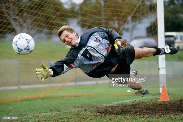 29th May 1991, England Training in Manly, Sydney, England goalkeeper Chris Woods goes full length in training, Chris Woods won 43 England...