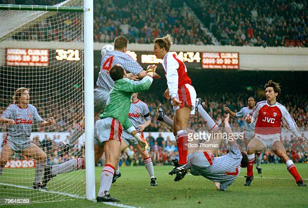 2nd December 1990 Division 1 Arsenal 3 v Liverpool 0 Arsenal's Paul Merson centre beats the liverpool defence to head the 1st goal Paul Merson...