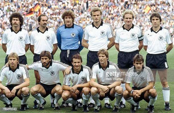 2nd July 1982 World Cup SemiFinal in Madrid Spain 1 v West Germany 2 West Germany team Back row leftright Paul Breitner Uli Stielike Harald...