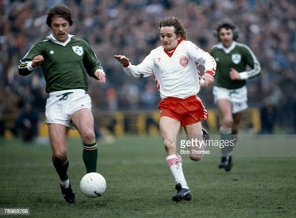 2nd May 1979 European Championship Qualifier in Dublin Republic of Ireland 2 v Denmark 0 Republic of Ireland's Jimmy Holmes in a race for the ball...