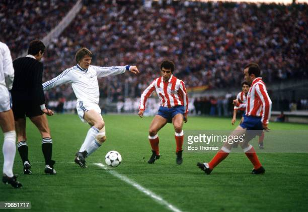 2nd May 1986 European Cup Winners Cup Final in Lyon France Atletico Madrid 0 v Dynamo Kiev 3 Dynamo Kiev's Oleg Blokhin prepares to shoot past the...