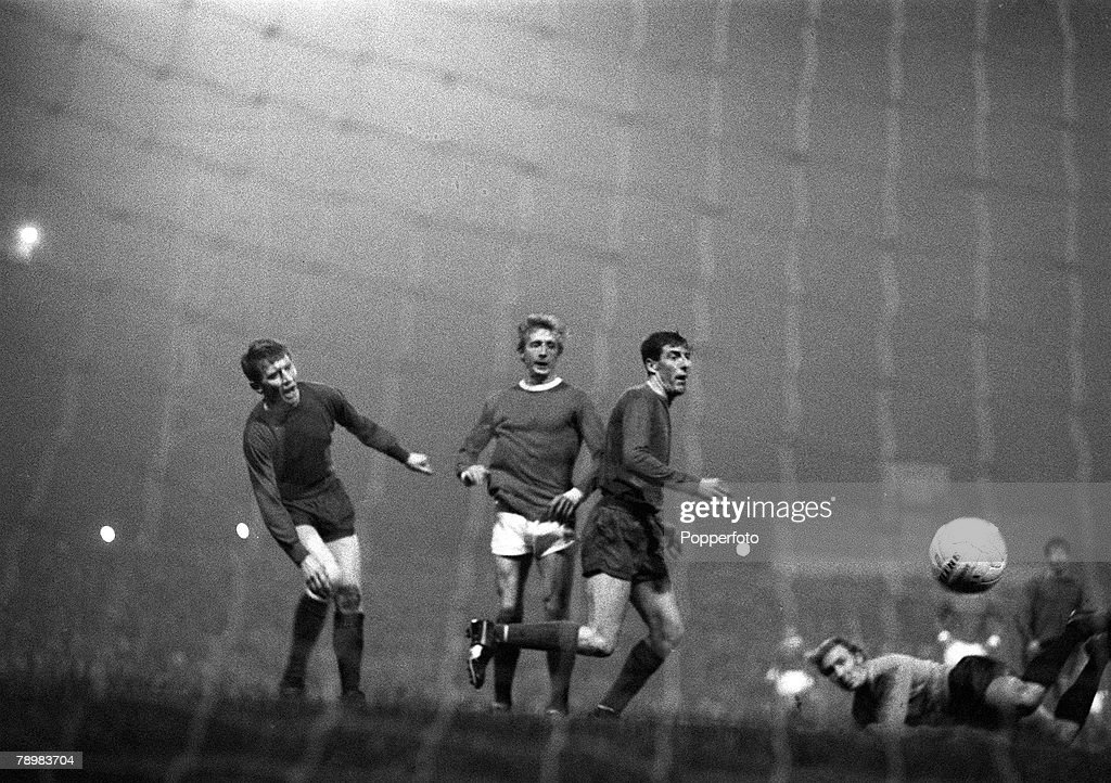 Sport. Football. pic: 2nd October 1968. European Cup 1st Round 2nd Leg at Old Trafford. Manchester United 7 v Waterford 1. Manchester United's Denis Law (2nd left) who scored 4 goals in the game. : News Photo