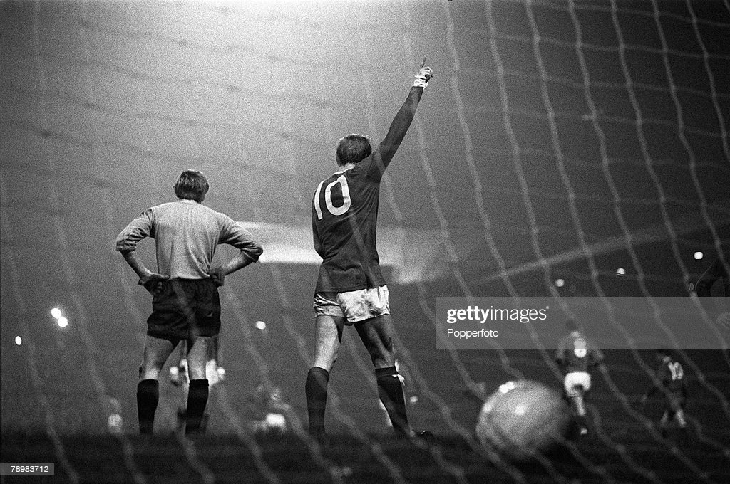 Sport. Football. pic: 2nd October 1968. European Cup Manchester United 7 v Waterford 1. Manchester United's Denis Law (10) who scored 4 goals in the game, celebrating one of his goals. : News Photo