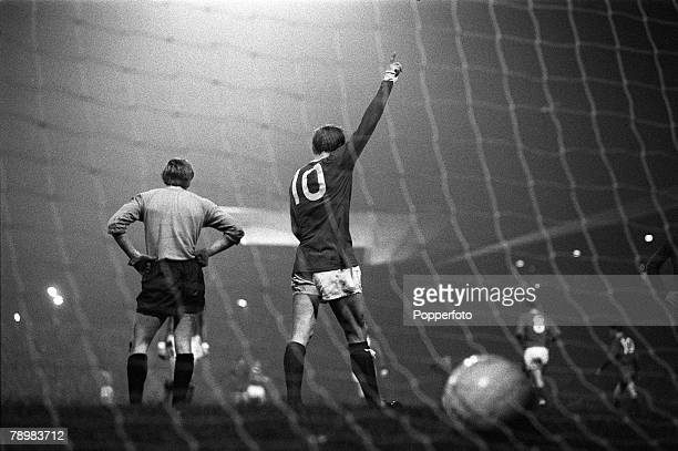 2nd October 1968 European Cup Manchester United 7 v Waterford 1 Manchester United's Denis Law who scored 4 goals in the game celebrating one of his...