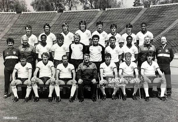 30th April 1985 England squad photograph Back row lr Trevor Steven Gary Lineker Gary Stevens Chris Waddle Dave Watson Terry Fenwick Steve Williams...