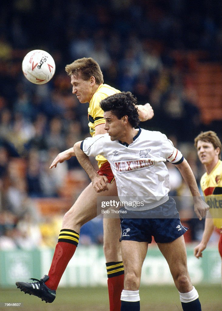 BT Sport, Football, pic: 30th April 1988, Division 1, Watford's John McClelland outjumps Derby County's John Gregory, John McClelland won 53 Northern Ireland international caps between 1980 and 1990 : News Photo
