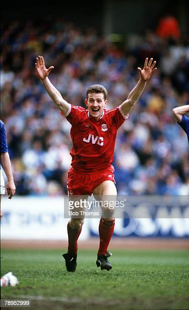 30th April 1988 Scottish Premier Division Rangers 0 v Aberdeen 1 Aberdeen's Brian Irvine celebrating after scoring the winning goal