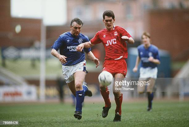30th April 1988 Scottish Premier League Rangers 0 v Aberdeen 1 Aberdeen's Willie Falconer right chased by Rangers' defender Graham Roberts