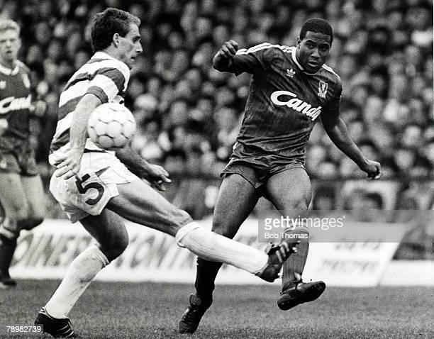 30th April 1989, Hillsborough Memorial Match, Celtic 0, v Liverpool 4, Liverpool's John Barnes crosses past Celtic defender Mick McCarthy, John...