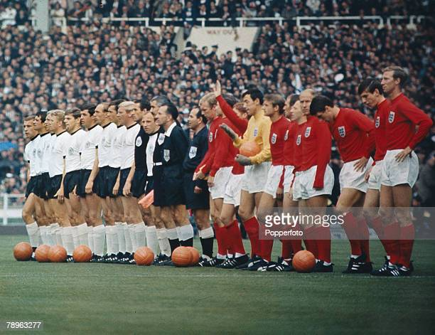 30th July 1966, 1966 World Cup Final at Wembley, England 4 v West Germany 2 a,e,t, England and West Germany line up before the game.