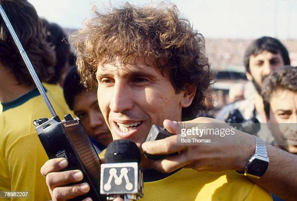 30th June 1985, World Cup Qualifier in Sao Paulo, Brazil 1 v Bolivia 1, Brazil's Zico is interviewed before the match, Zico was one of Brazil's best...