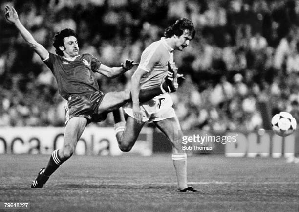 30th May 1979 European Cup Final in Munich Nottingham Forest 1 v Malmo 0 Nottingham Forest striker Garry Birtles left challenges Malmo defender Kent...