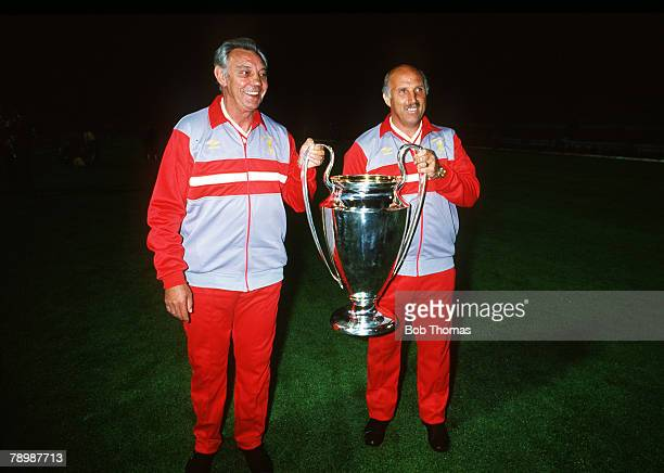 30th May 1984, European Cup Final in Rome, Liverpool beat Roma 4-2 on penalties after 1-1 draw a,e,t, Joe Fagan, the Liverpool Manager holds the...