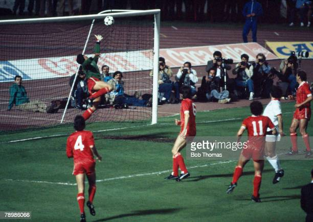 30th May 1984 European Cup Final in Rome Roma 1 v Liverpool 1 after extra time Liverpool goalkeeper Bruce Grobbelaar is beaten by a header from...