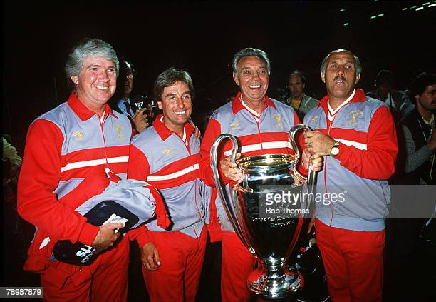 30th May 1984, European Cup Final in Rome, Roma v Liverpool, The Liverpool management team, left-right, Chris Lawler,Roy Evans, Liverpool Manager Joe...