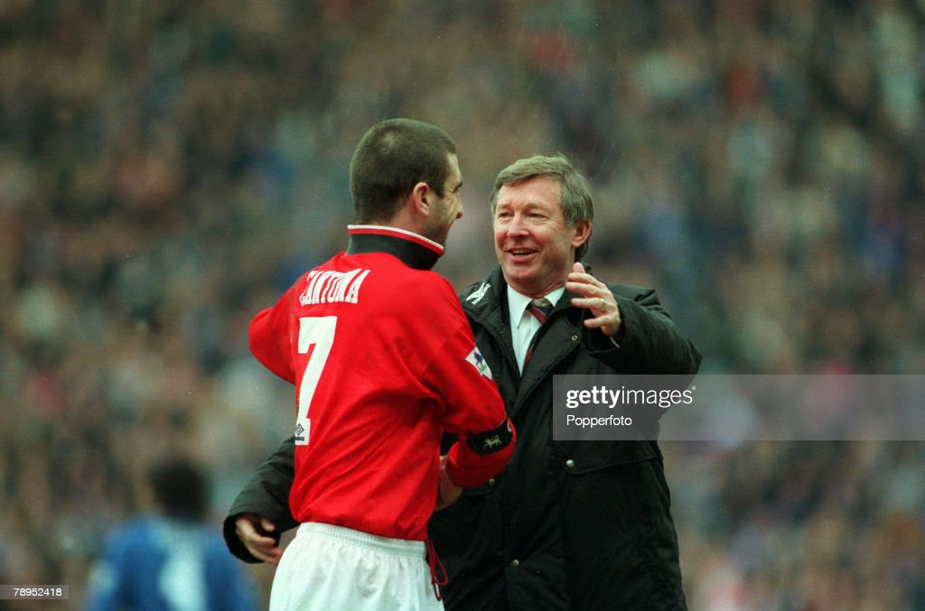 Sport. Football. pic: 31st January 1996. FA.Cup Semi-Final at Villa Park. Machester United 2.v Chelsea 1. Manchester United Manager Alex Ferguson celebrates the victory with his captain Eric Cantona. : News Photo