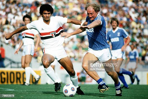31st July 1982 Sunshine International Series Sao Paulo 1 v Ipswich Town 0 Ipswich Town's Alan Brazil is challenged by Sao Paulo's Gassem