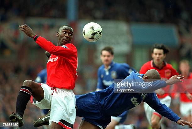 31st March 1996 FA Cup SemiFinal at Villa Park Manchester Unitedv Chelsea Manchester United's Andy Cole causes problems for the Chelsea defence Andy...