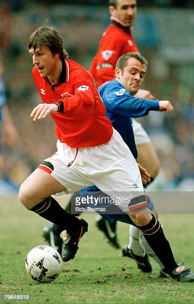 31st March 1996 FACup SemiFinal at Villa Park Chelsea 1 v Manchester United 2 Manchester United's Lee Sharpe goes past Chelsea's John Spencer Lee...